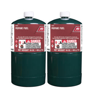 Ace  16 oz. Steel  Propane Fuel Cylinder