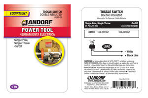 Jandorf  20 amps Single Pole  Toggle  Power Tool Switch  Black  1 pk