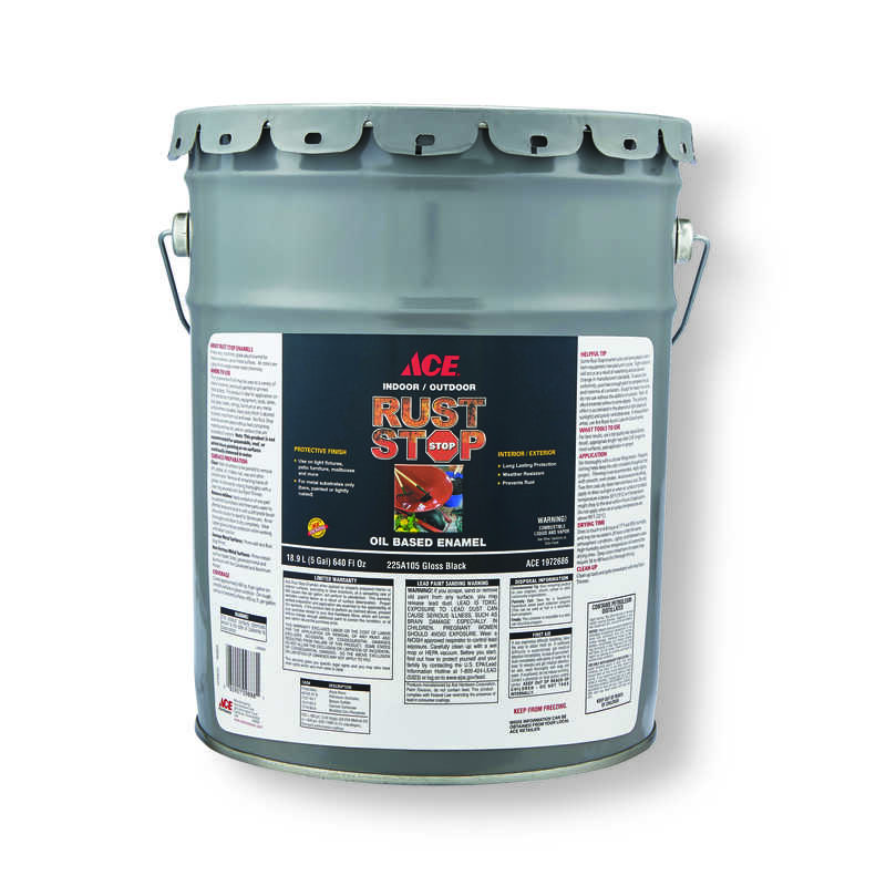 Ace  Rust Stop  Indoor and Outdoor  Gloss  Black  Rust Prevention Paint  5 gal.
