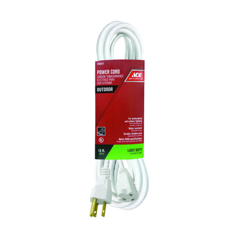 Ace  Outdoor  White  Extension Cord  16/3 SJTW  15 ft. L