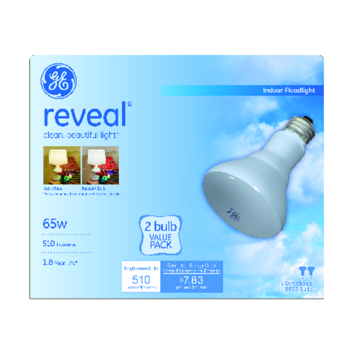 GE Lighting  Reveal  65 watts BR30  Incandescent Bulb  Soft White  Floodlight  2 pk 510 lumens