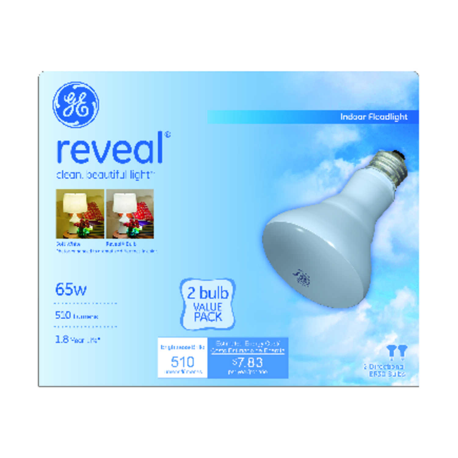 GE  Reveal  65 watts BR30  Incandescent Bulb  510 lumens Soft White  Floodlight  2 pk
