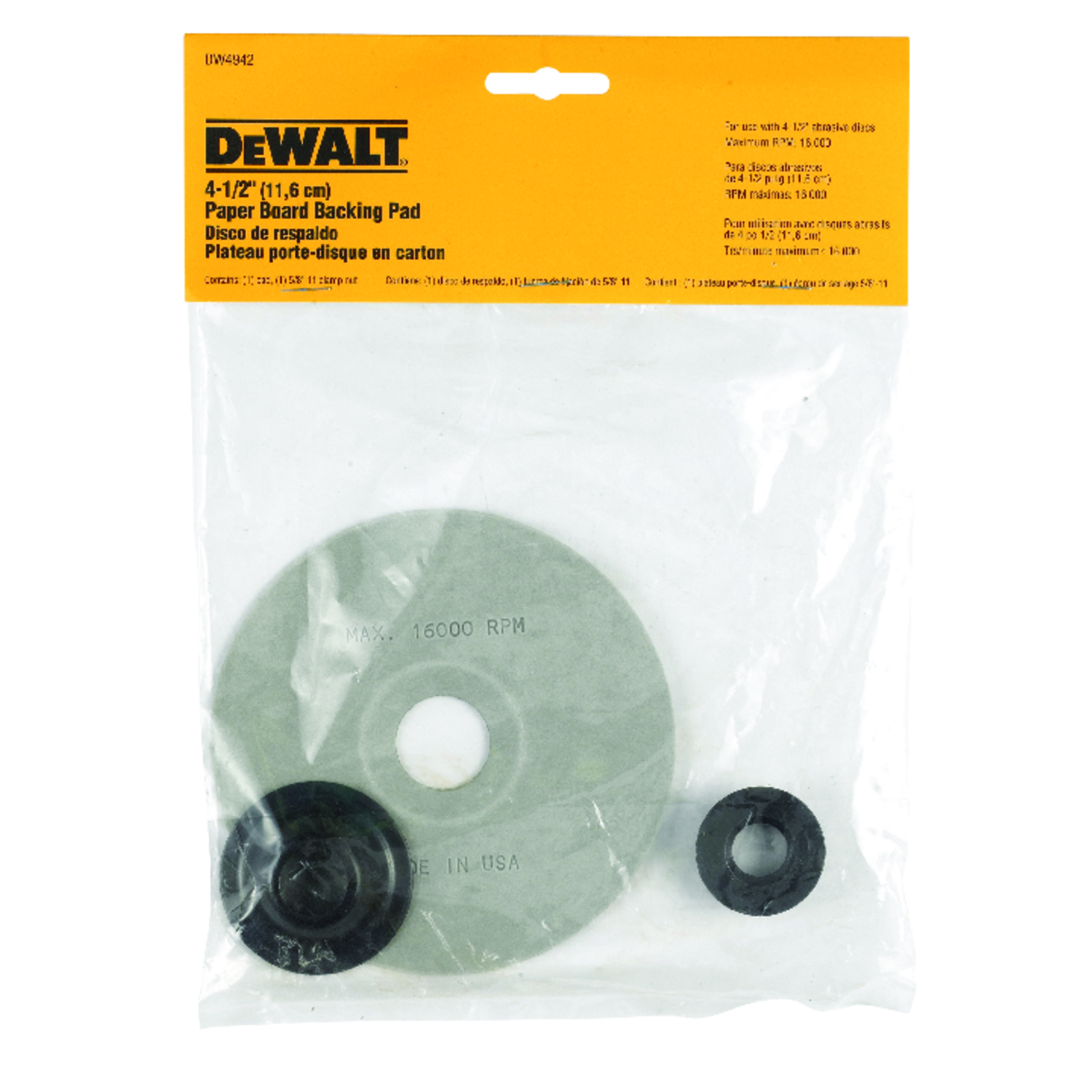DeWalt  4-1/2 in. Dia. x 5/8 in.   Paper  Backing Pad  8500 rpm 1