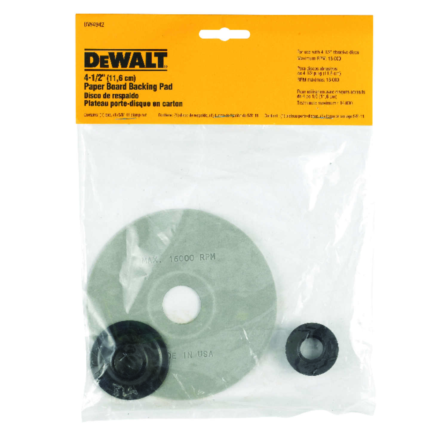 DeWalt  4-1/2 in. Dia. x 5/8 in.-11   Paperboard  Backing Pad  16000 rpm 1 pc.