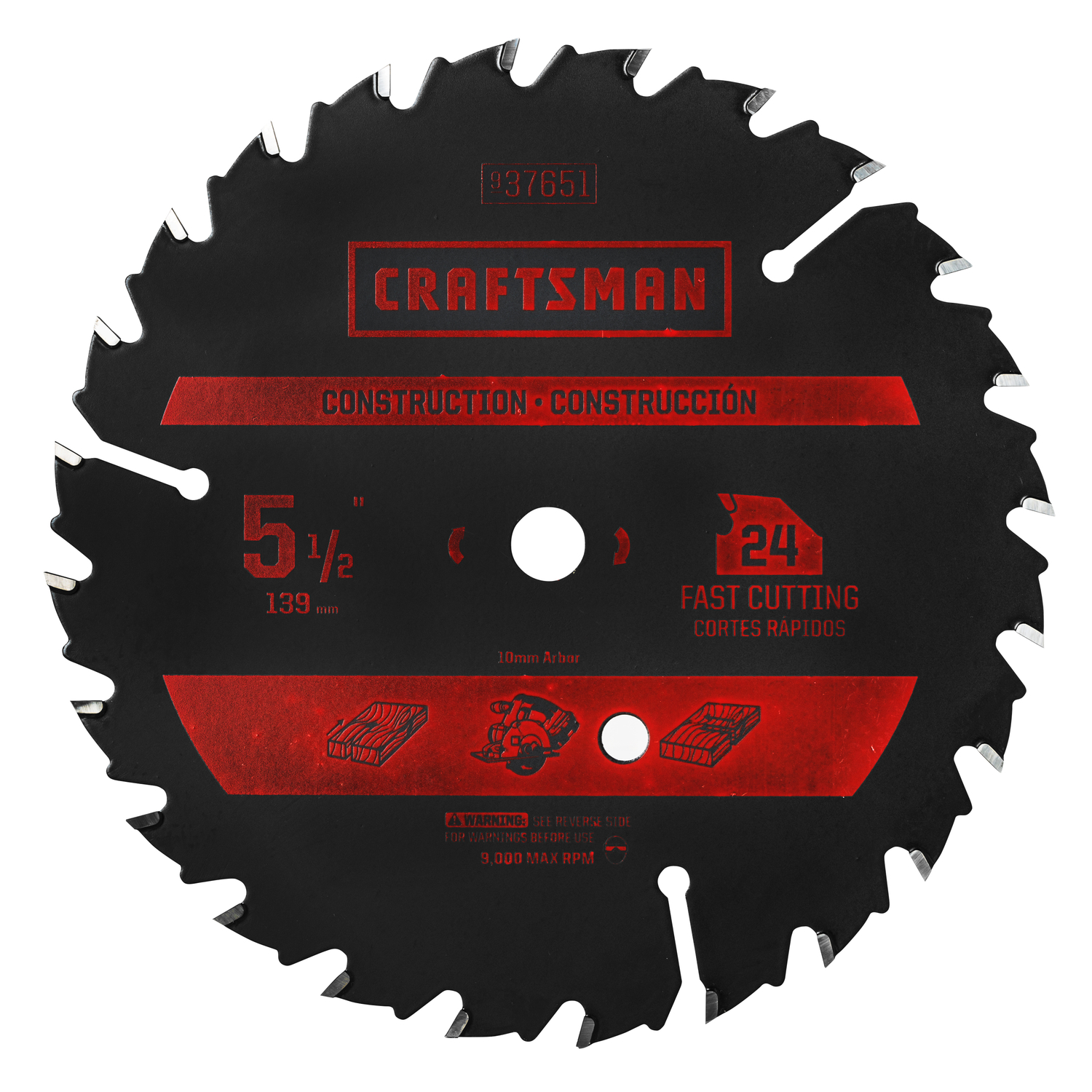 Craftsman 5 12 in carbide circular saw blade 38 in 24 teeth 1 pk carbide circular saw blade 38 in greentooth Choice Image