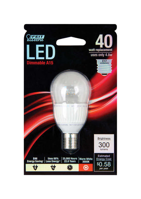 FEIT Electric  4.8 watts A15  LED Bulb  300 lumens 40 Watt Equivalence Warm White  A-Line