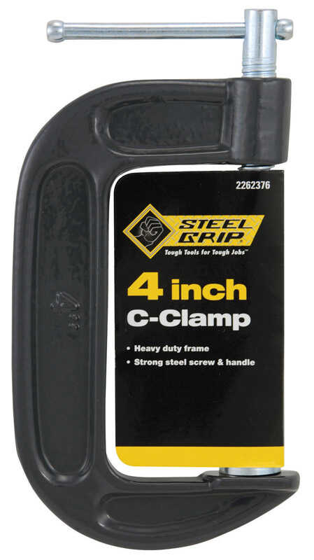 Steel Grip  4 in.  Steel  Adjustable  C-Clamp  Black  1 pc.