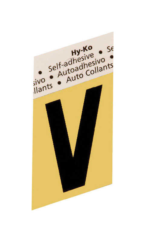 Hy-Ko  1-1/2 in. Black  Aluminum  Letter  V  Self-Adhesive  1 pc.