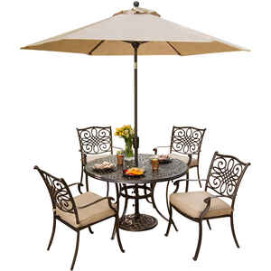 Hanover  5 pc. Bronze  Aluminum  Patio Set  Tan