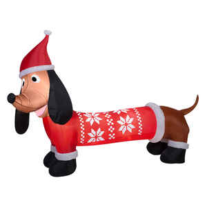 Gemmy  Dachshund in Sweater  Christmas Inflatable  Multicolored  Fabric  1 pk