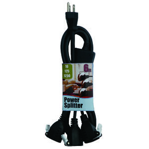 Conntek  1 to 3 Outlet Cord  14/3 SJT 18/3 SVT  6 ft. L Black