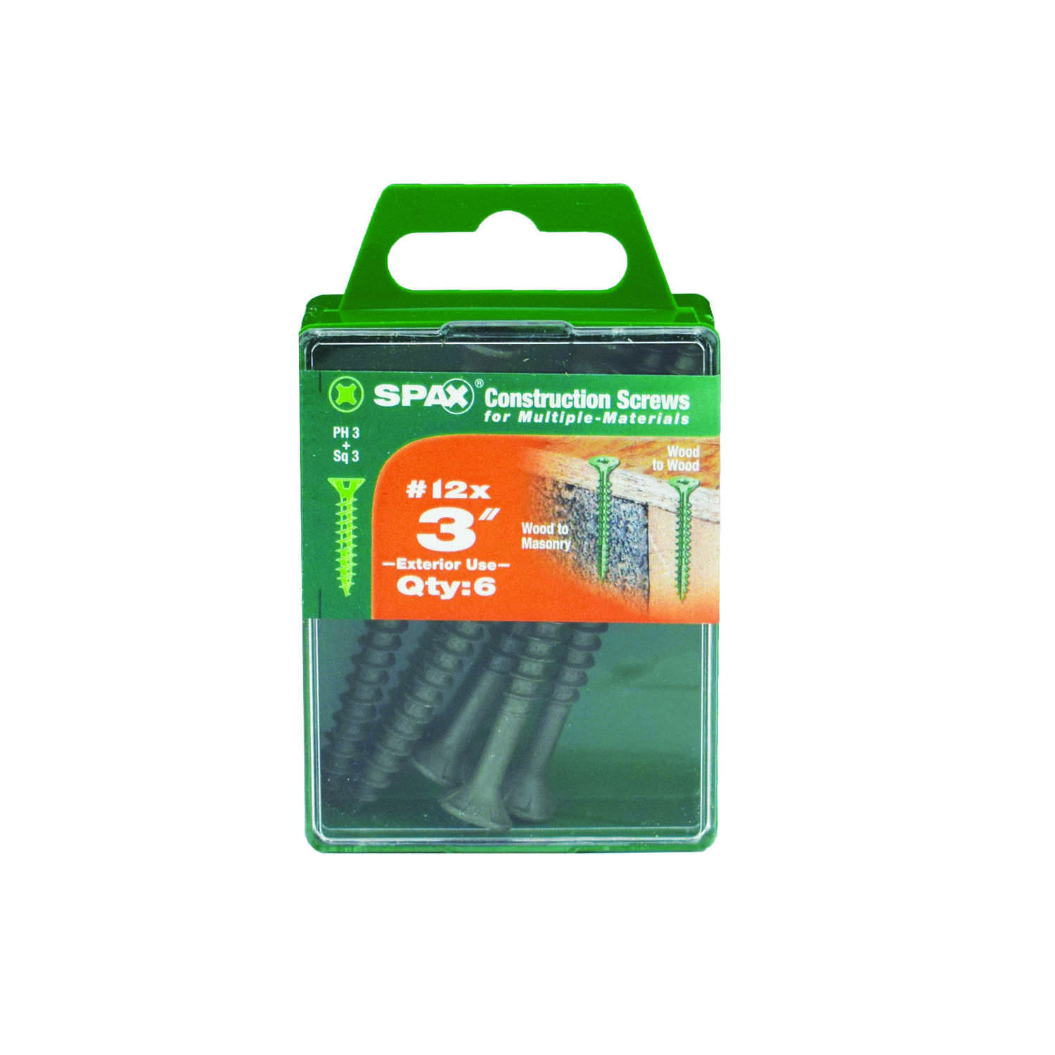 SPAX  No. 12   x 3 in. L Phillips/Square  Flat Head High Corrosion Resistant  Steel  Multi-Purpose S