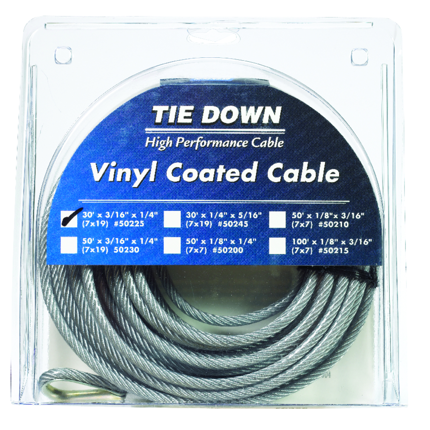 Tie Down Engineering  Vinyl Coated  Galvanized Steel  3/16 in. Dia. x 30 ft. L Aircraft Cable