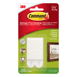 Command  White  Picture Hanging Strips  12 lb. 8 pk Foam