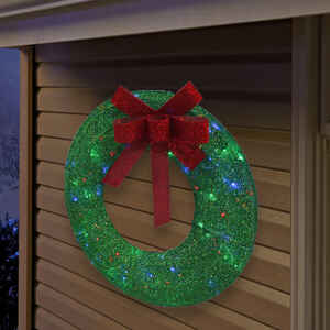Sylvania Illuminet Wreath LED Yard Art Green Mesh ...