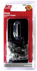 Ace  Black  Steel  3-1/4 in. L Swivel Staple Safety Hasp