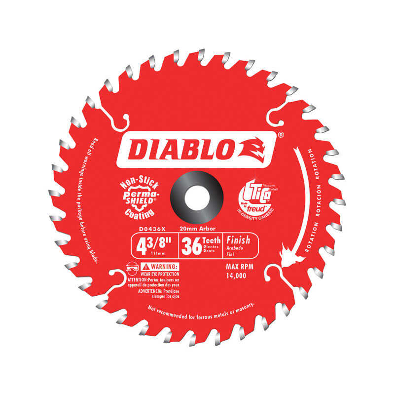 Diablo  4-3/8 in. Dia. x 20 mm  Saw Blade  TiCo Hi-Density Carbide  36 teeth 1 pc.