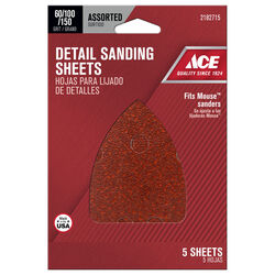 Ace Mouse 5 in. L x 3-1/2 in. W Assorted Grit Aluminum Oxide Mouse Sandpaper 5 pk