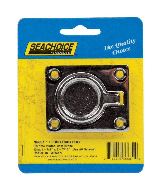 Seachoice  Chrome  1-7/8 in. L x 2-7/16 in. W 1 pc. Flush Ring Pull  Brass