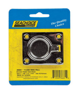 Seachoice  Chrome-Plated  Brass  1-7/8 in. L x 2-7/16 in. W Flush Ring Pull  1 pc.