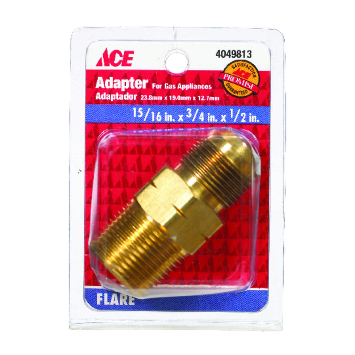 Ace  15/16 in. Flare   x 3/4 in. Dia. Male  Brass  Flare Adapter
