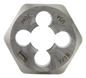Irwin  Hanson  High Carbon Steel  SAE  Hexagon Die  7/16 in.-20NF  1 pc.