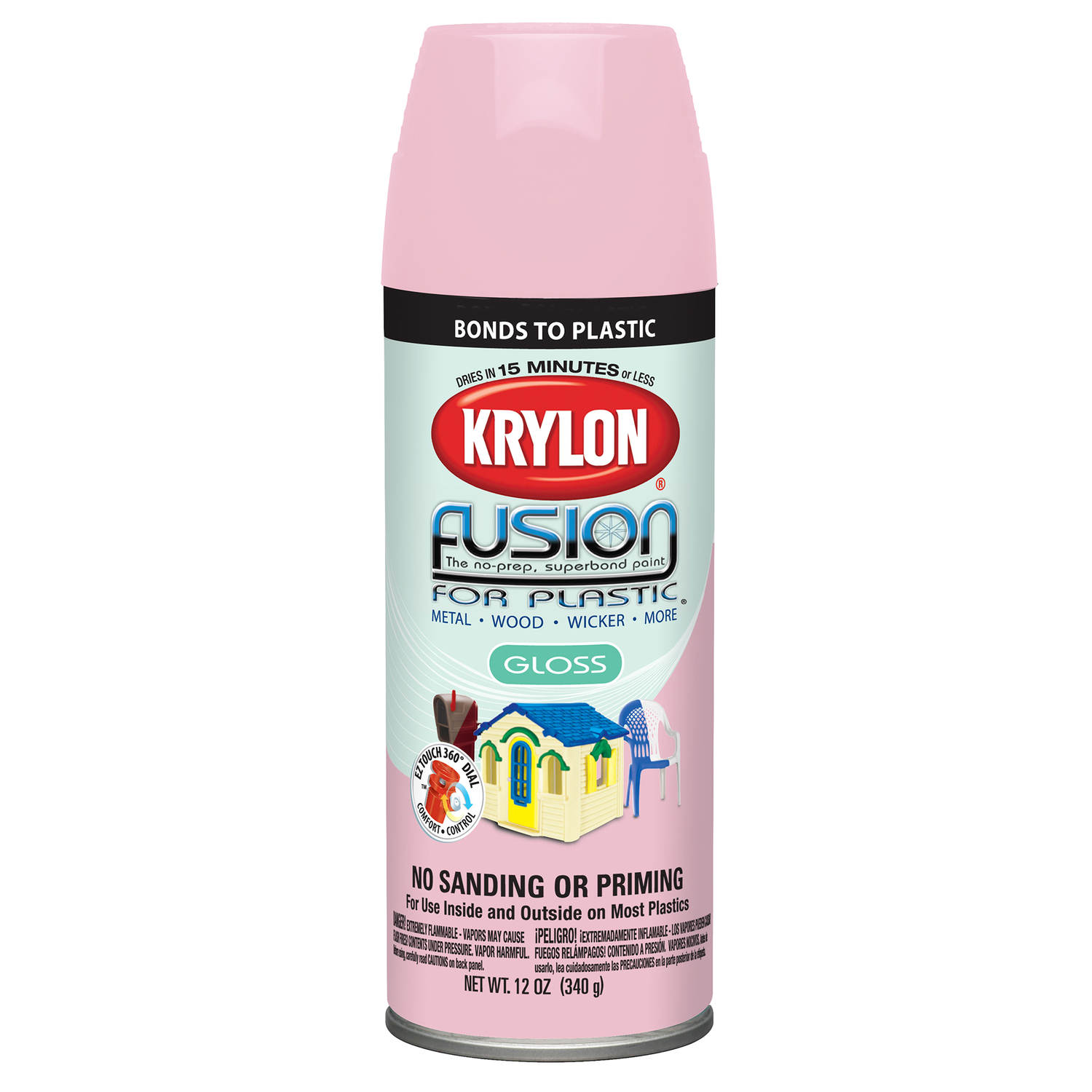 Krylon  Gloss  Fairytale Pink  Fusion Spray Paint  12 oz.