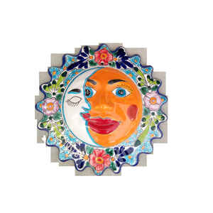 Avera Products  Talavera  Ceramic  Multi-color  14 in. H Sun and Moon  Wall Hanging