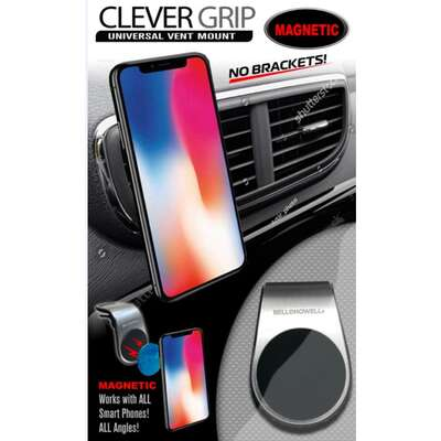 Clever Grip  Silver  Magnetic  Cell Phone Holder  For All Mobile Devices