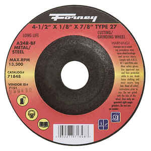 Forney  4-1/2 in. Dia. x 1/8 in. thick  x 7/8 in.   Aluminum Oxide  Metal Grinding Wheel  13300 rpm