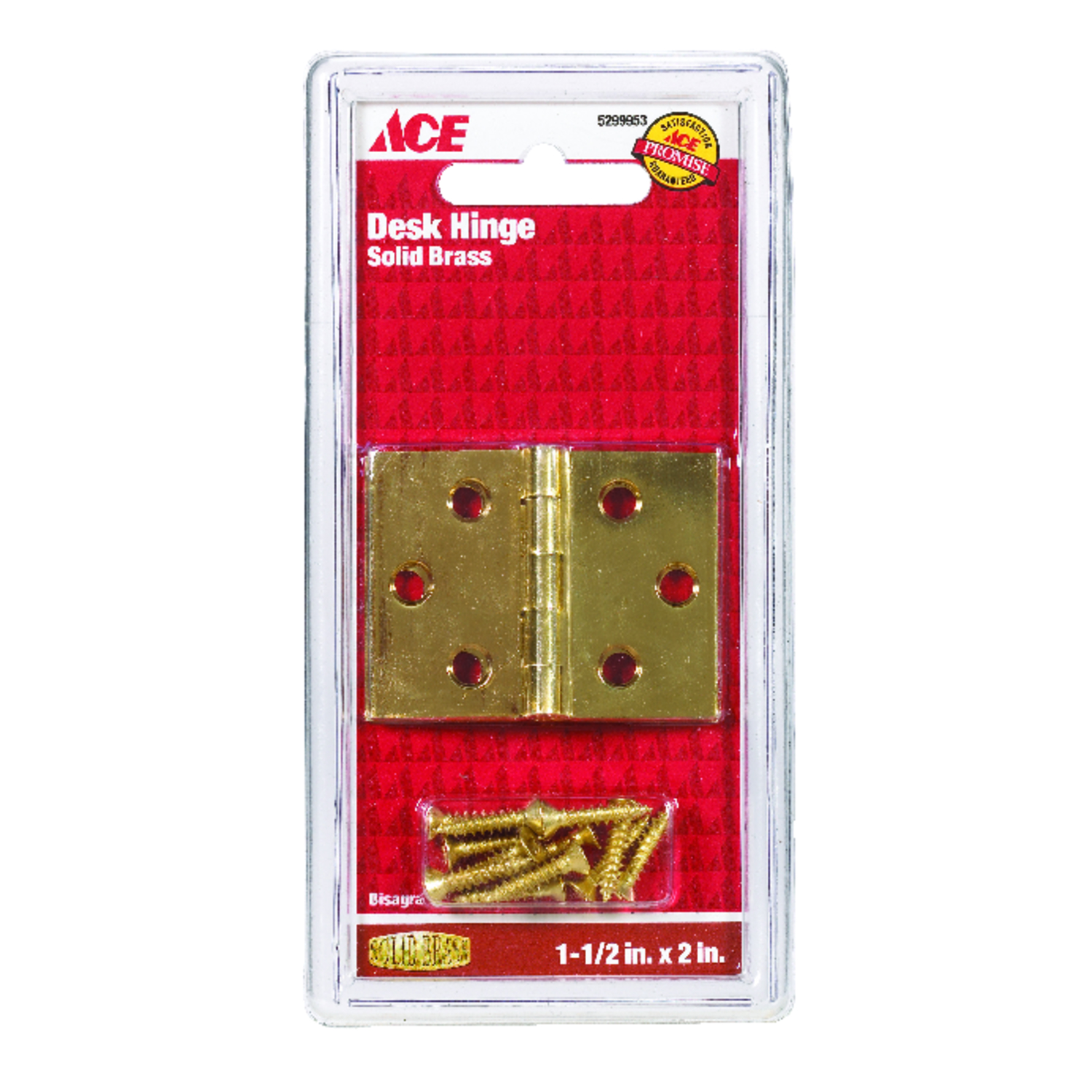 Ace  2.75 in. W x 1-1/2 in. L Polished Brass  Brass  Desk Hinge  2 pk