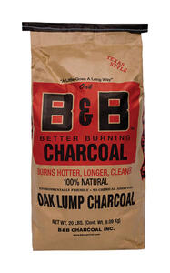 B&B Charcoal  All Natural Oak Hardwood  Lump Charcoal  20 lb.