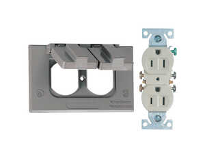 Sigma  2-13/16 in. Aluminum  Duplex Outlet Kit  Gray  Rectangle