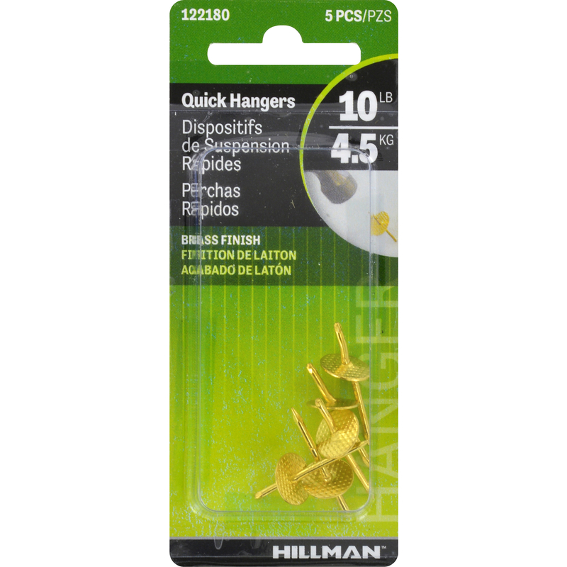 HILLMAN  AnchorWire  Brass-Plated  Brass  Quick Hanger  10 lb. 5 pk One Piece