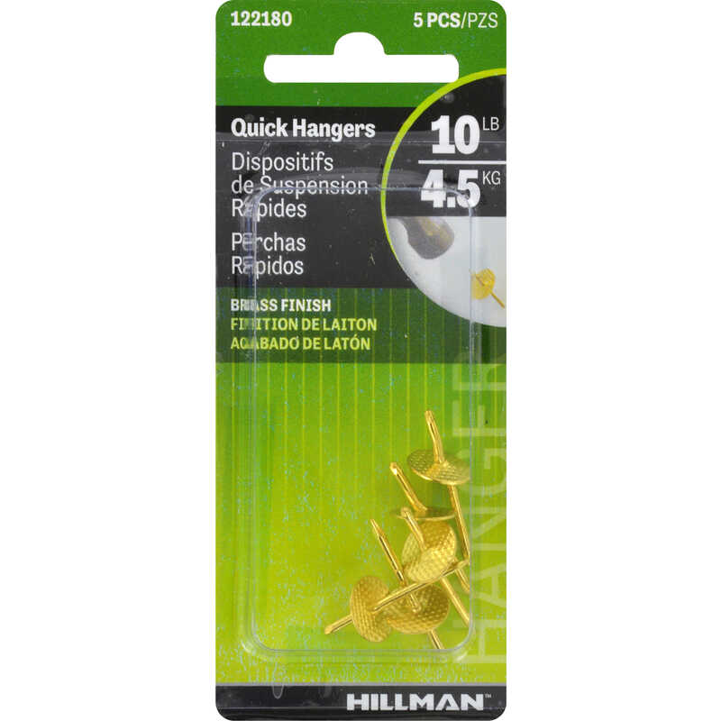 HILLMAN  AnchorWire  Brass-Plated  One Piece  Brass  10 lb. 5 pk Quick Hanger