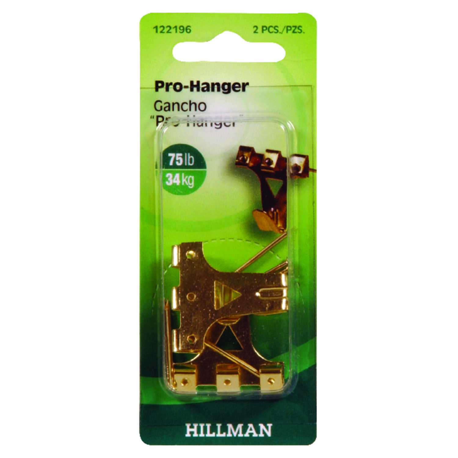 Hillman  AnchorWire  Brass-Plated  Gold  Professional  Picture Hanger  75 lb. 2 pk Brass