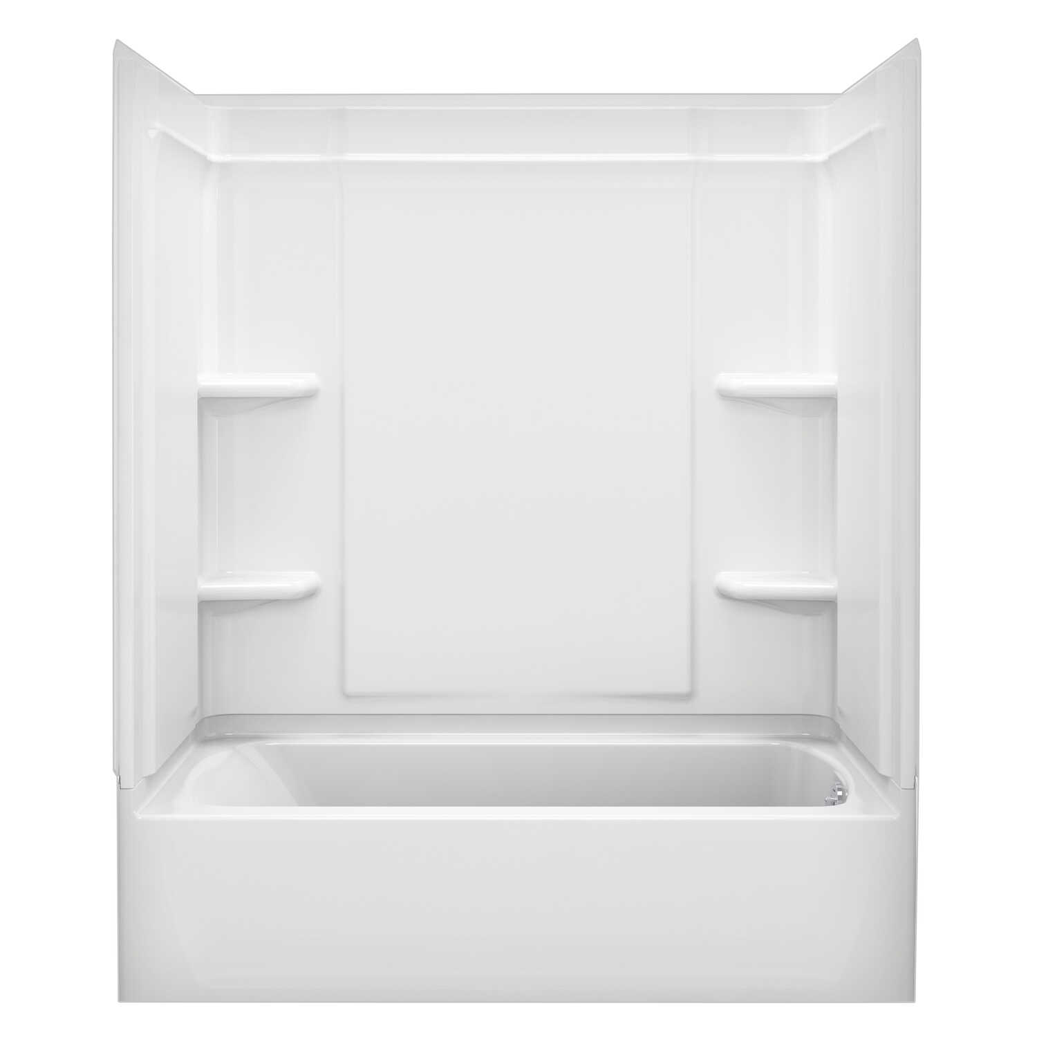 Sterling  Ensemble  73 in. H x 30 in. W x 60 in. L White  Bathtub Wall Surround  Three Piece  Revers