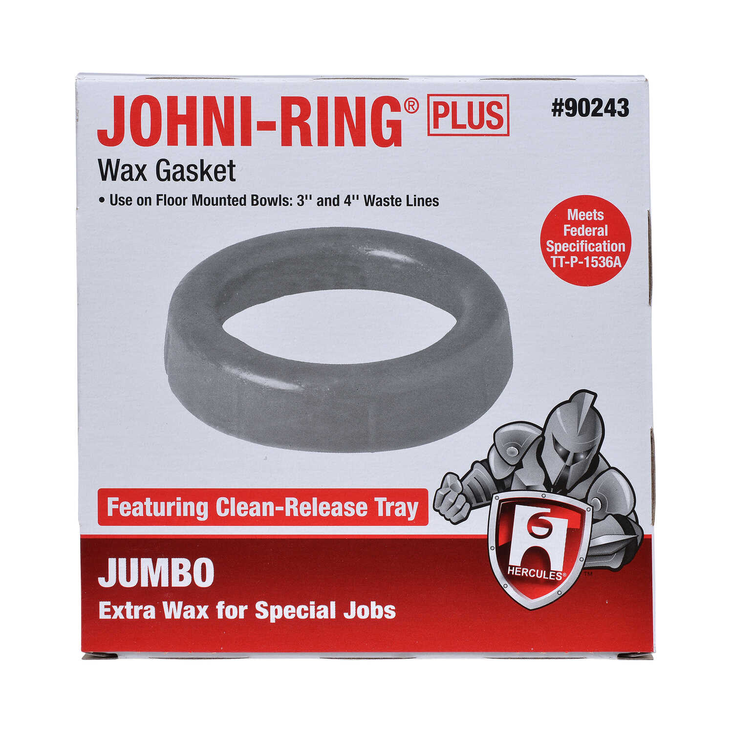 Hercules  Johni-Ring Plus  Wax Gasket  Petroleum Wax  For 3 in and 4 in waste lines