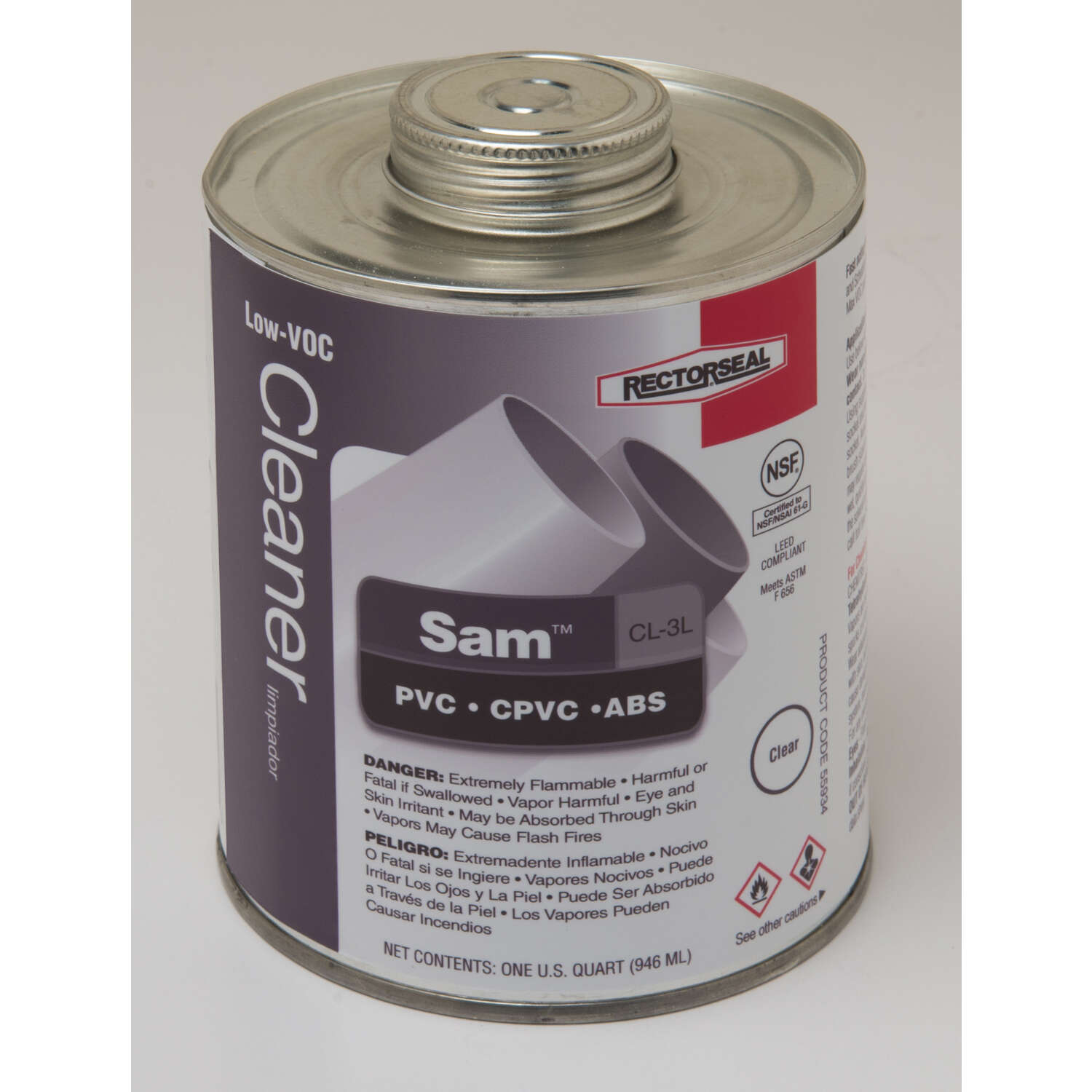 Rectorseal  Sam  Clear  Cleaner  For ABS/CPVC/PVC 32 oz.