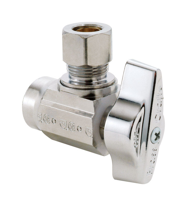 Keeney  1/2 in.  x 3/8 in.  x 3/8 in. Dia. x 1/2 in. Dia. Brass  Shut-Off Valve  Angle
