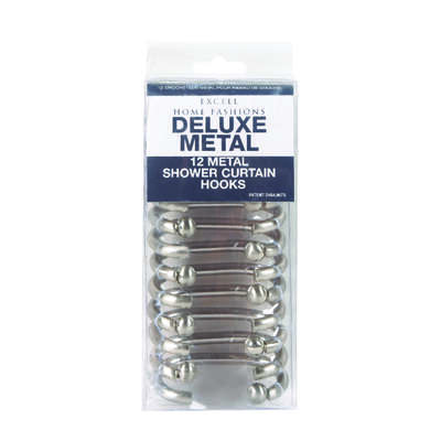 excell brushed nickel metal shower curtain rings 12 pk