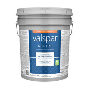 Valspar  Aspire  Semi-Gloss  Pure White Tint Base  Acrylic Latex  5 gal. Paint and Primer  Tintable