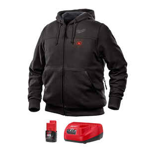 Milwaukee  M12  M  Long Sleeve  Unisex  Full-Zip  Heated Hoodie Kit  Black