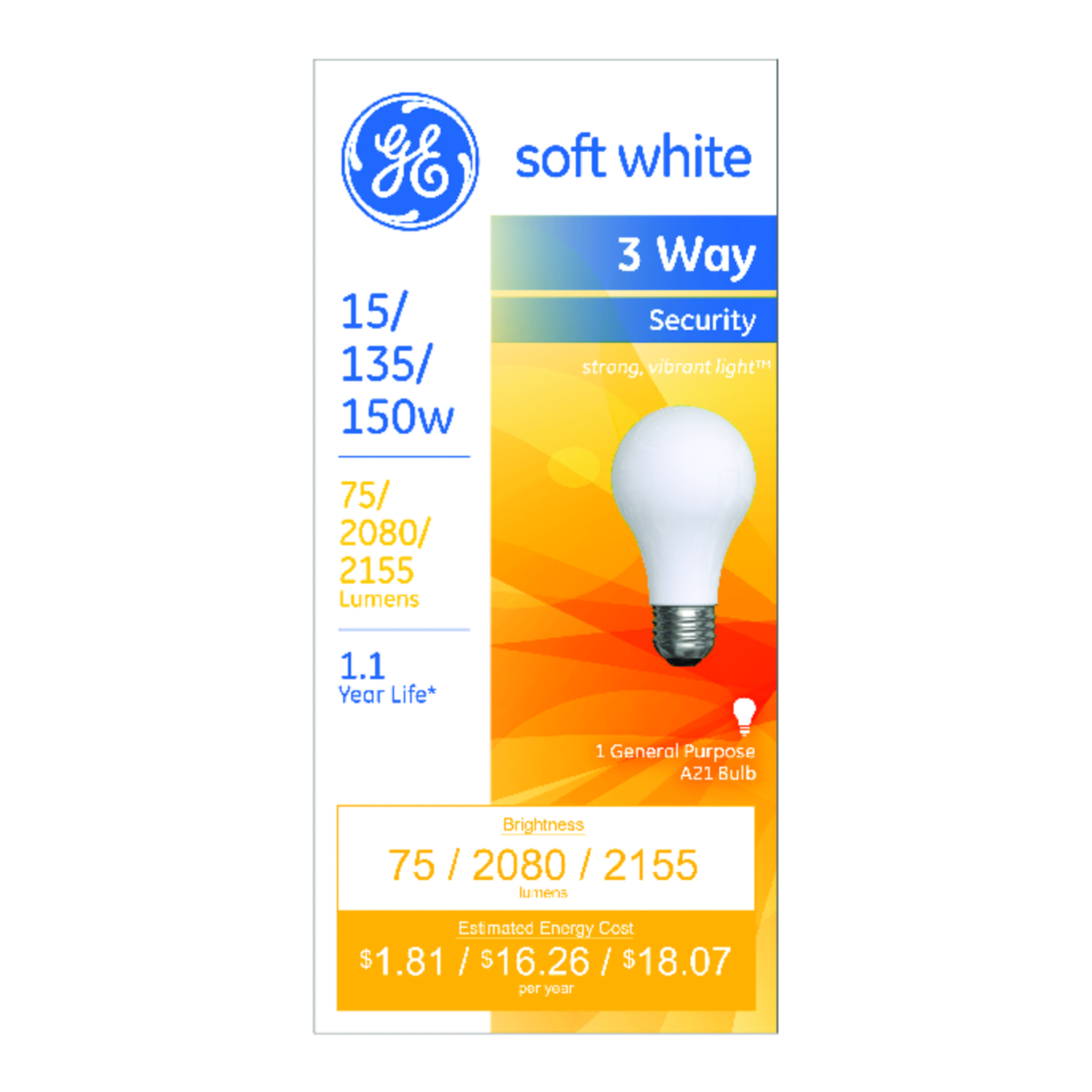 GE Lighting  20/135/155 watts A21  Incandescent Bulb  120/2,080/2,200 lumens Soft White  A-Line  1 p
