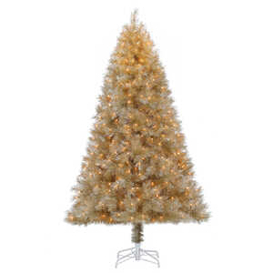 Polygroup  Clear  Prelit 7-1/2 ft. Mixed Slim Champagne Tinsel  Christmas Tree  400 lights 962 tips