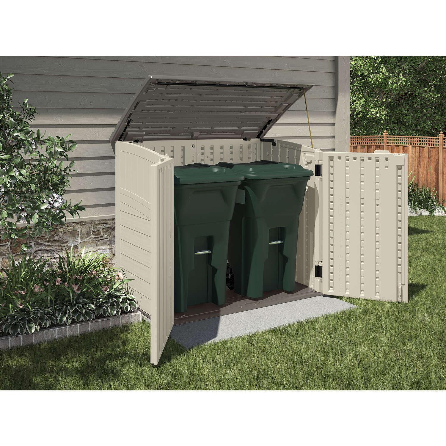 Suncast  45-1/2 in. H x 53 in. W x 32-1/4 in. D Vanilla  Horizontal Storage Shed  Resin