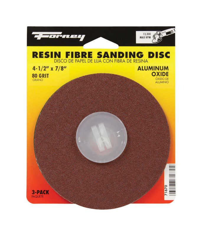Forney  Aluminum Oxide  Adhesive  80 Grit 4.5 in. 3 pk Sanding Disc