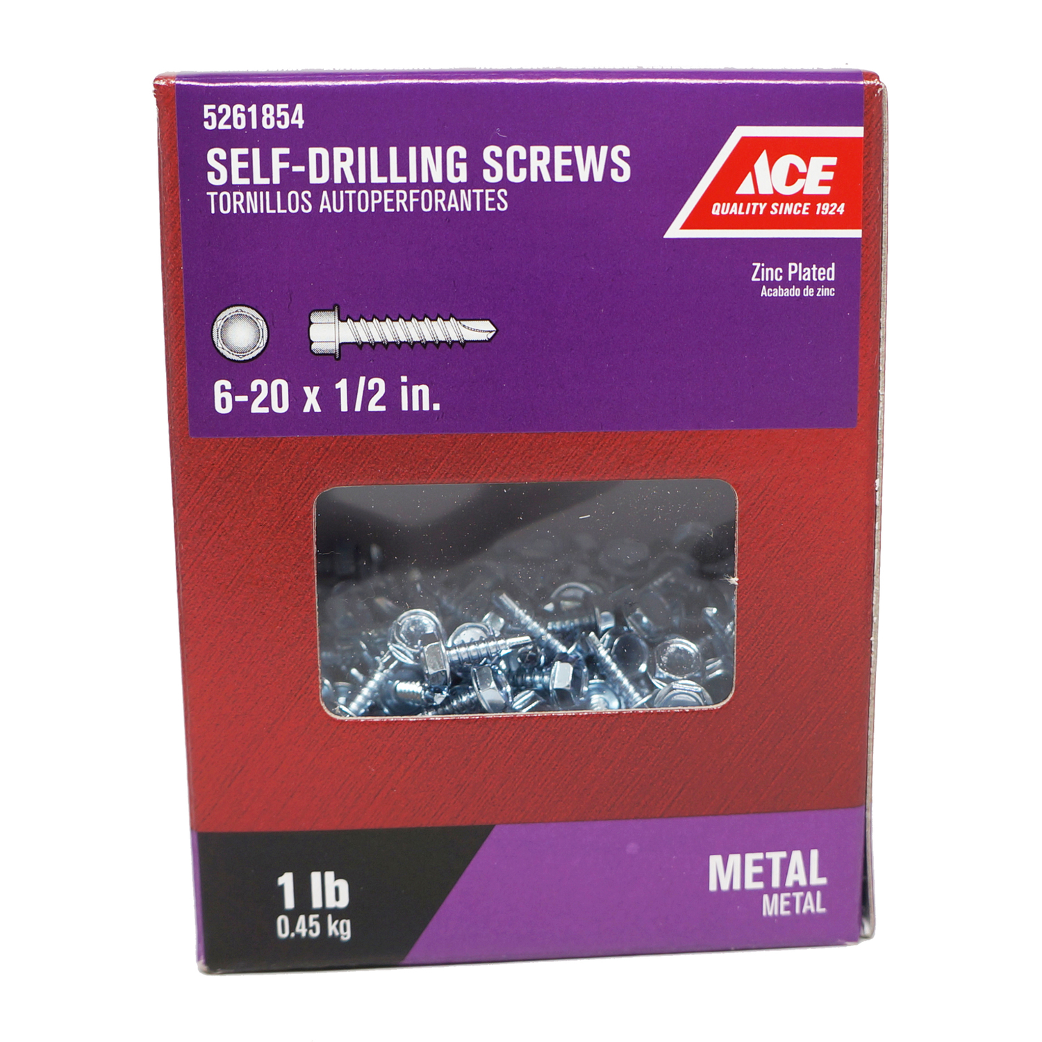 Ace  1/2 in. L x 6-20 Sizes  Hex  Hex Washer Head Steel  Self- Drilling Screws  Zinc-Plated  1 lb.