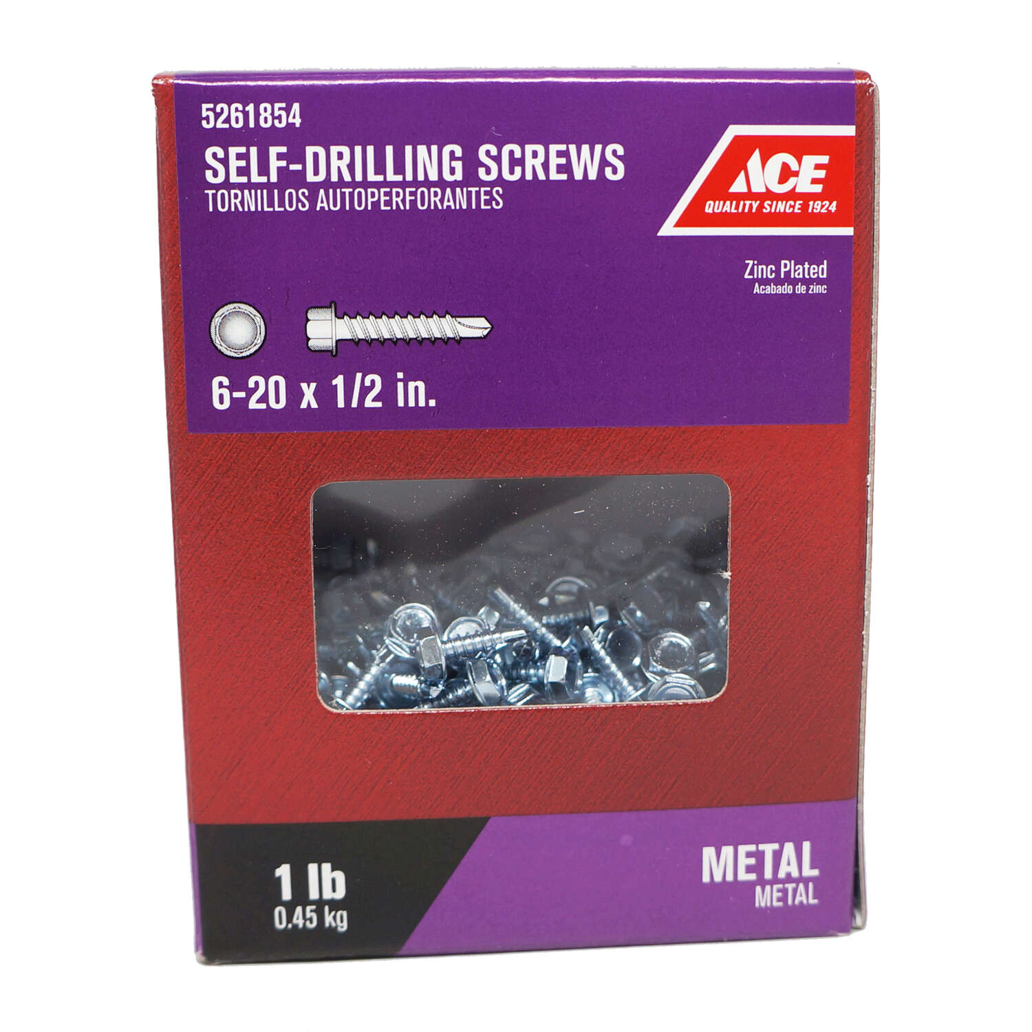 Ace  No. 6-20   x 1/2 in. L Hex Washer Head Zinc-Plated  Steel  Self- Drilling Screws  1 lb.