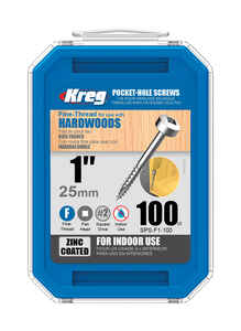 Kreg Tool  No. 6   x 1 in. L Square  Pan Head Steel  Zinc-Plated  100 pk Pocket-Hole Screw